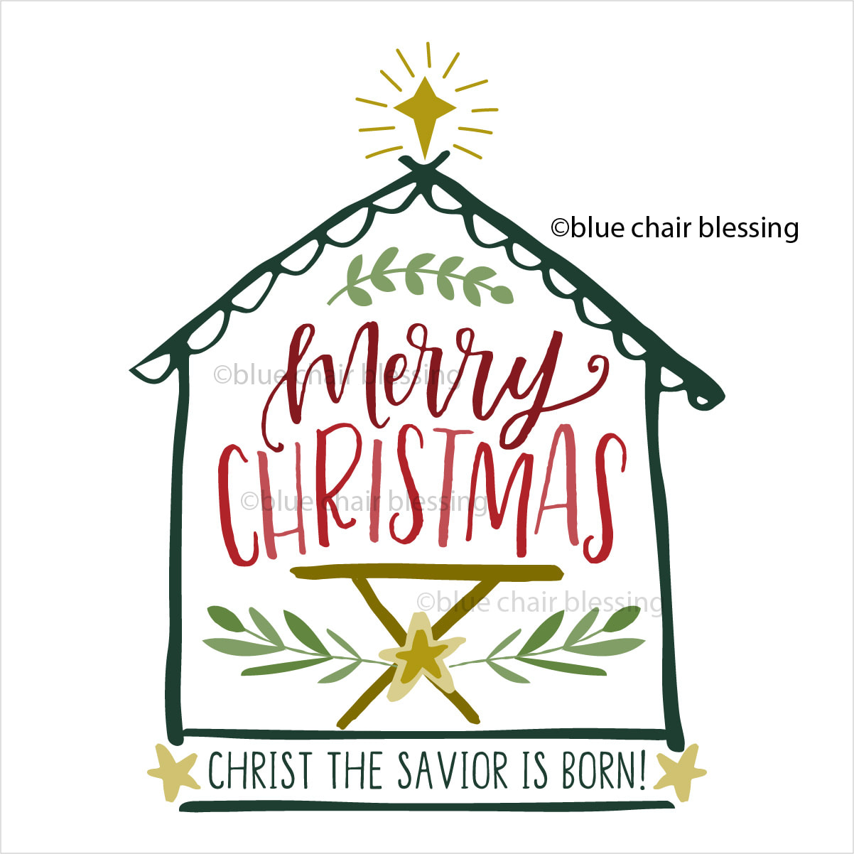 Religious Blessed Merry Christmas Clipart.