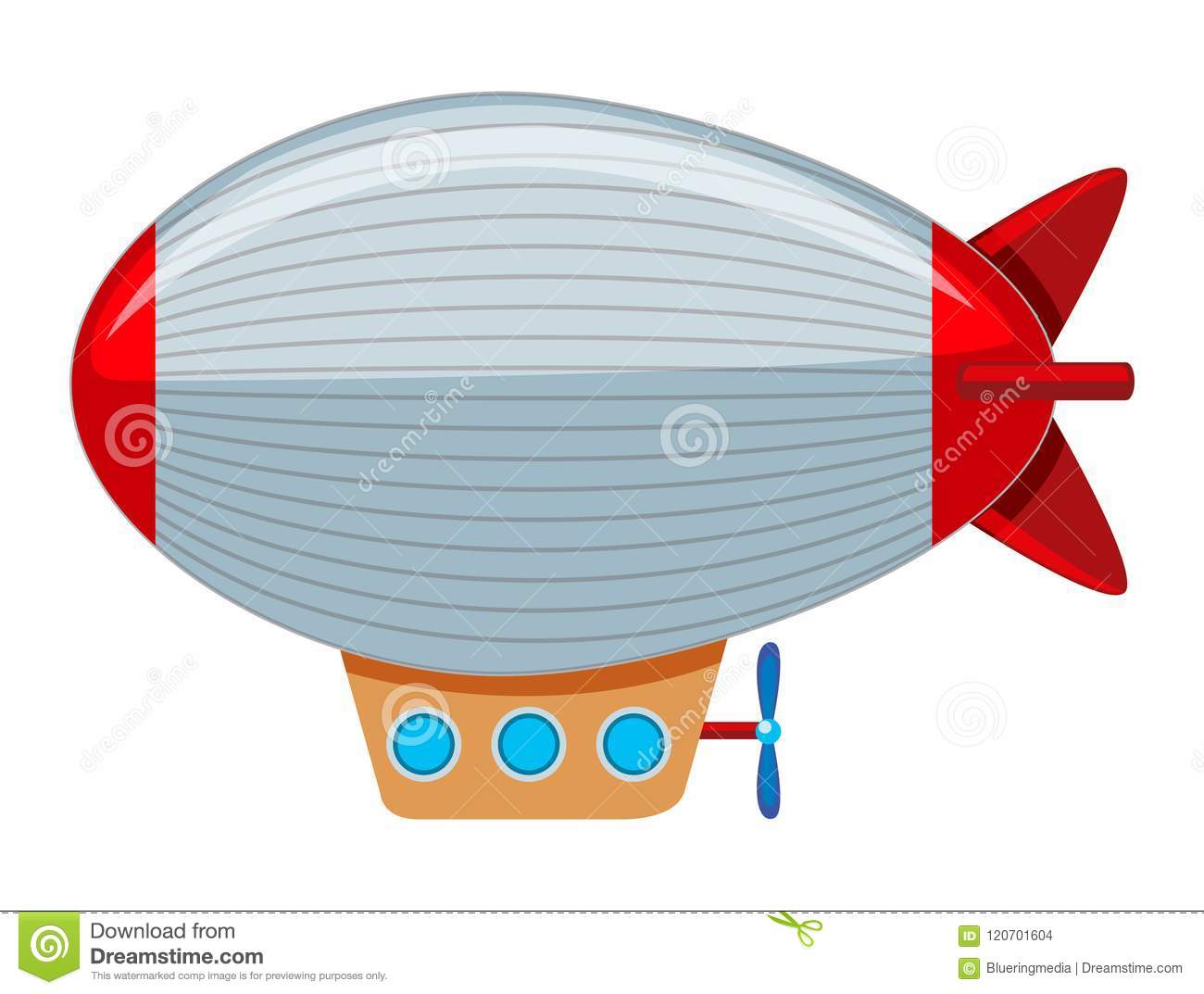 A large grey and red blimp stock vector. Illustration of clipart.
