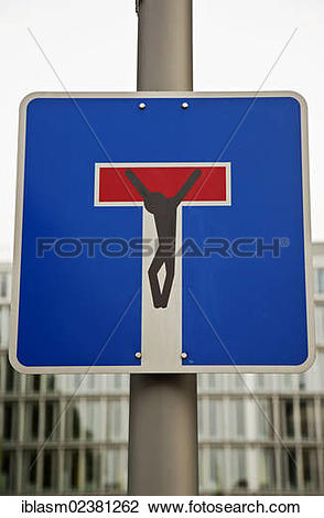 Stock Photo of Stencil of Jesus at a blind alley sign.