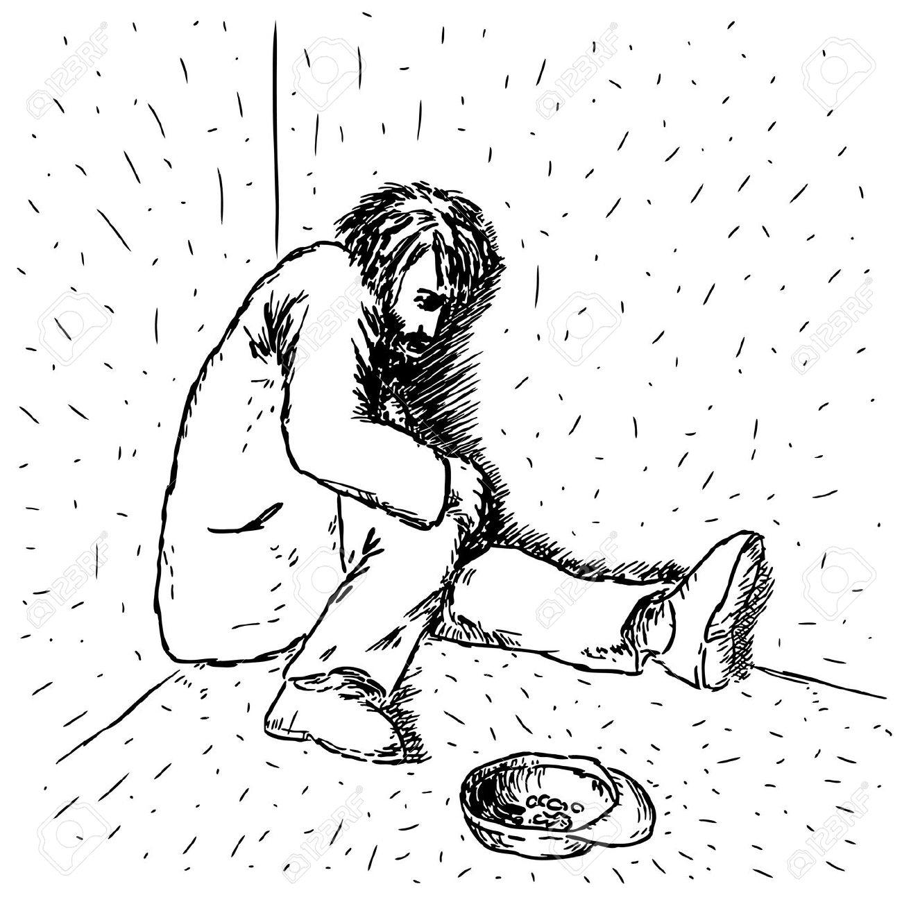 Beggar Man Clipart Black And White.