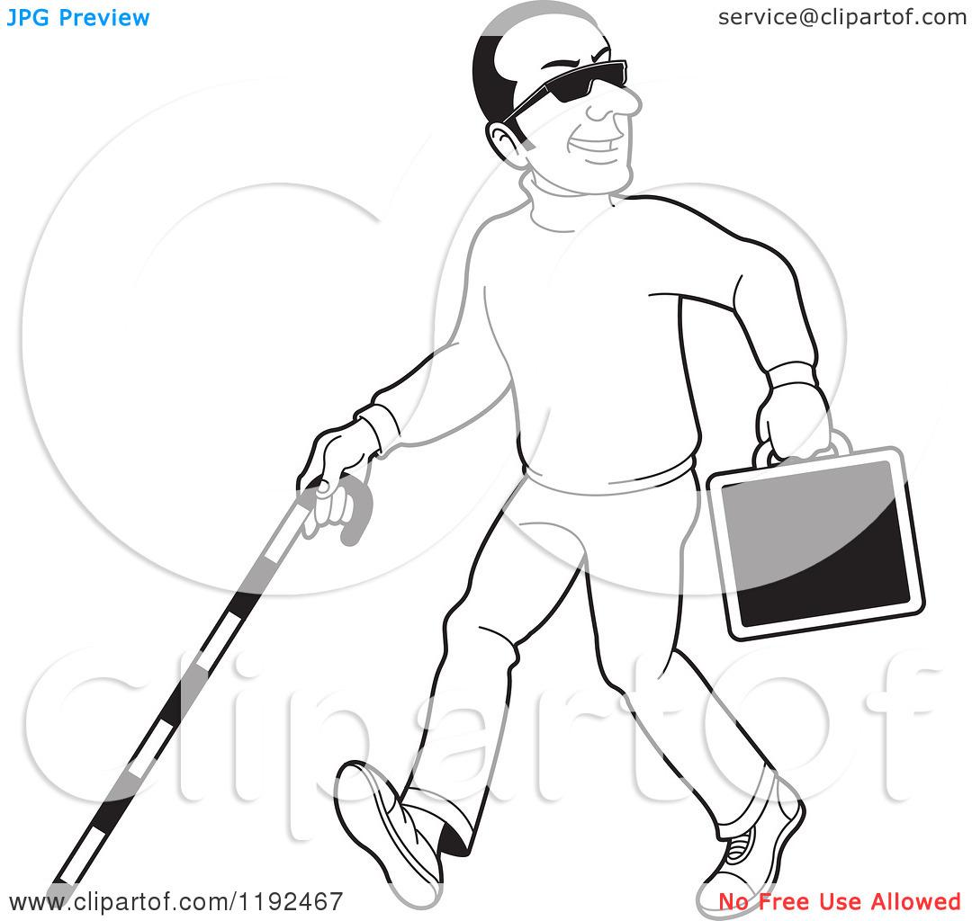 Blind beggar man clipart black and white.