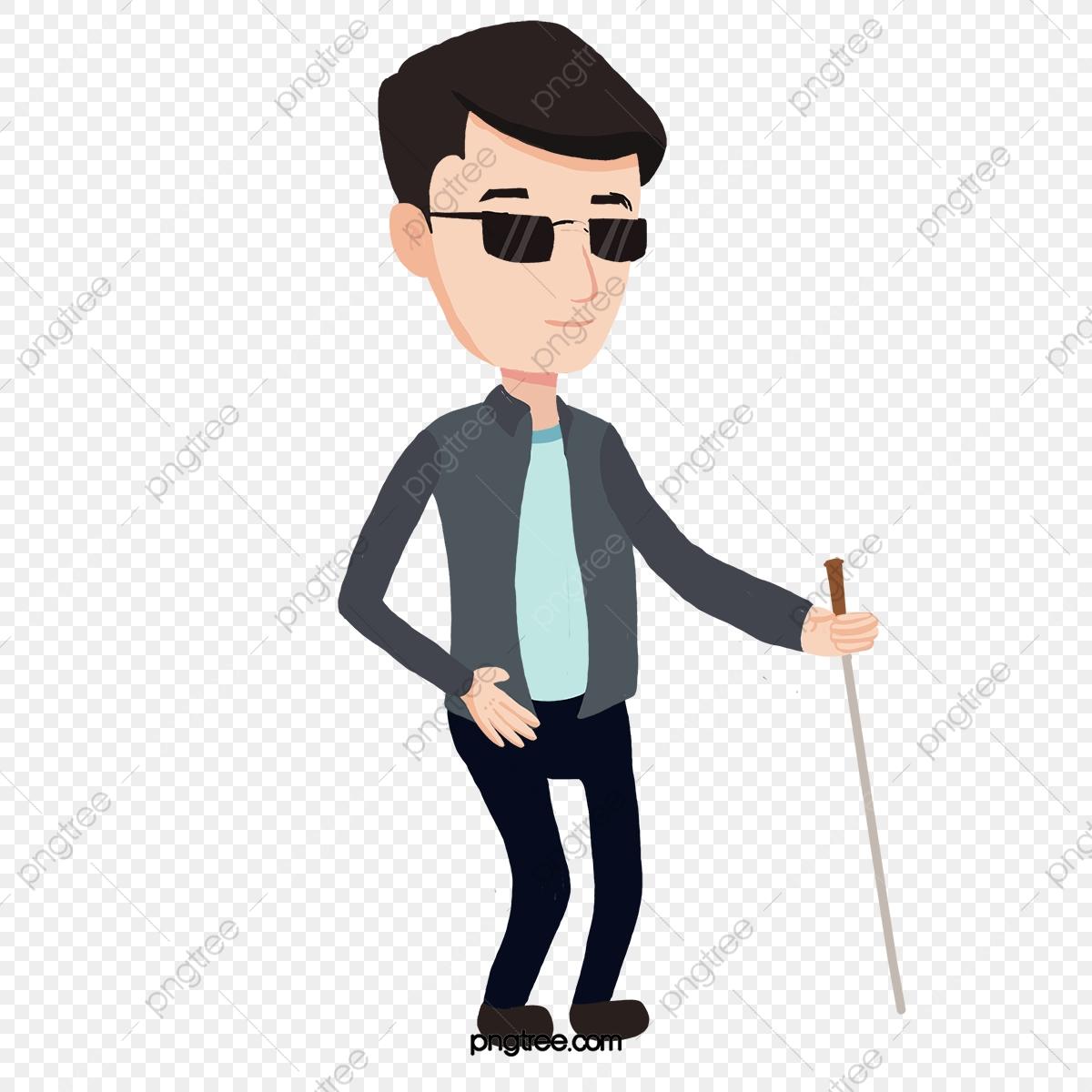 A Blind Man Walking, Man Clipart, Walking Clipart, Cartoon PNG.