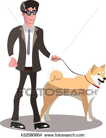 Blind person with guide dog. Clipart.