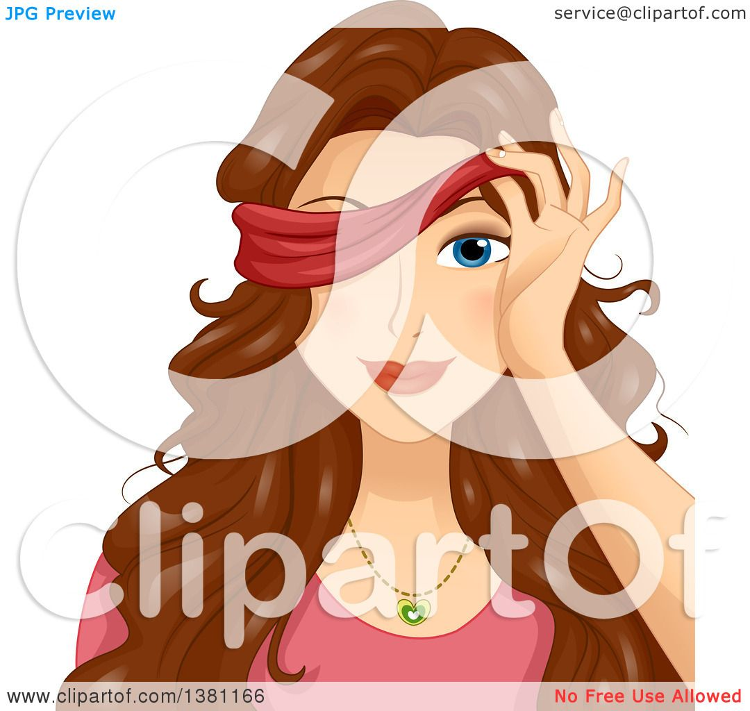Clipart of a Brunette White Woman Peeking Through a Blindfold.