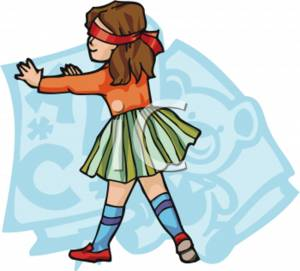 School Clipart of a Blindfolded Girl.