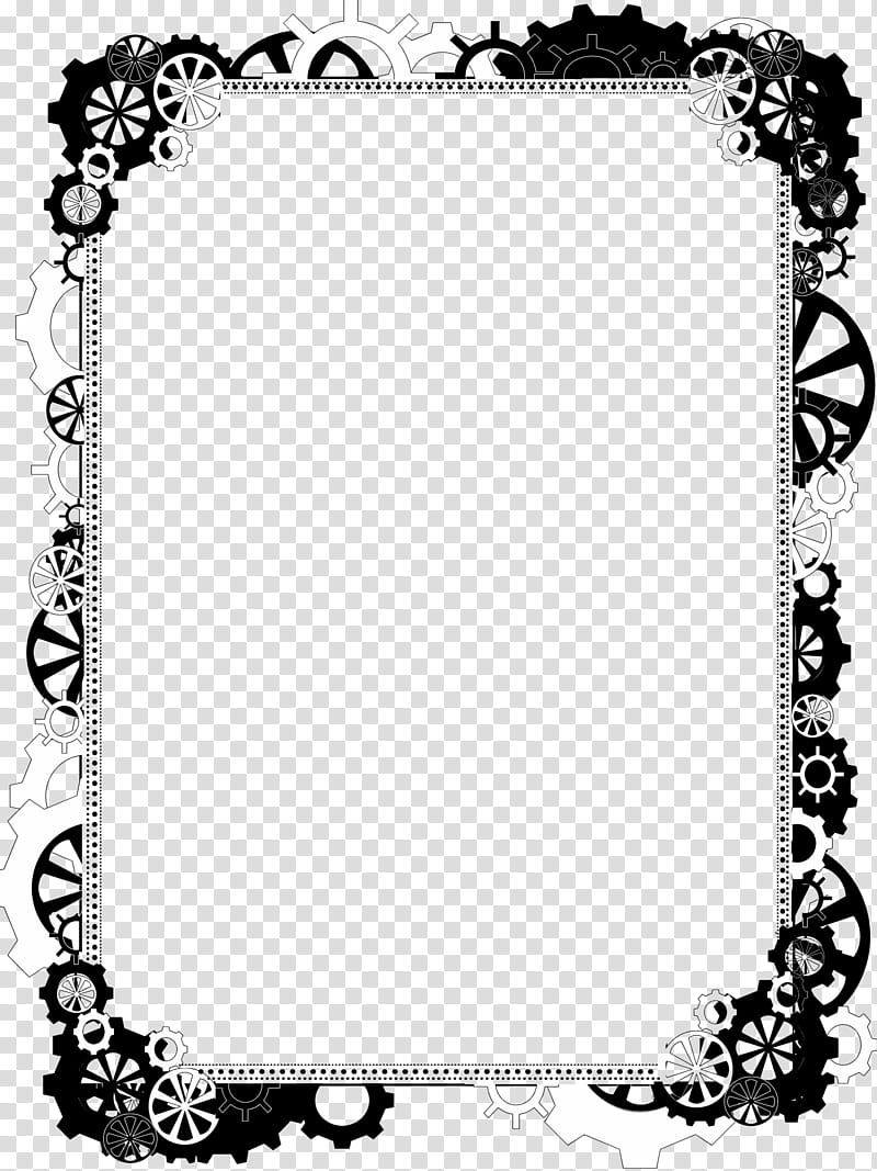 Bdr Steampunk Bling , black and white borderlines transparent.