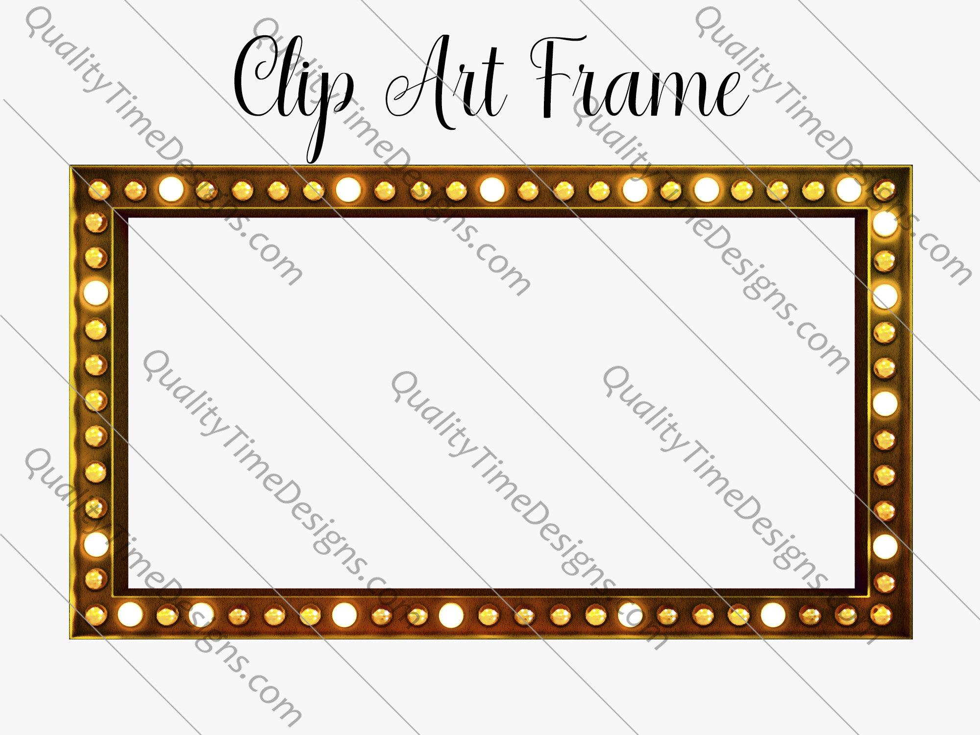Gold Marquee Bling Show Biz Clip Art Frame.