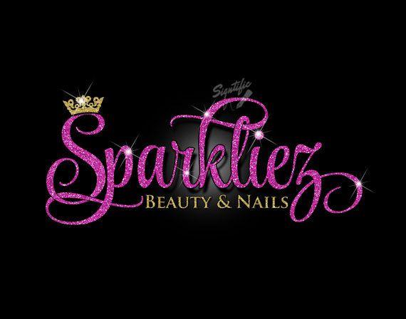Glitter bling Beauty Salon Logo, Custom Salon Glitter.