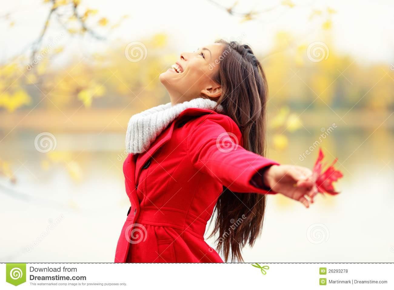 Happy Autumn Woman Blissful Royalty Free Stock Photos.