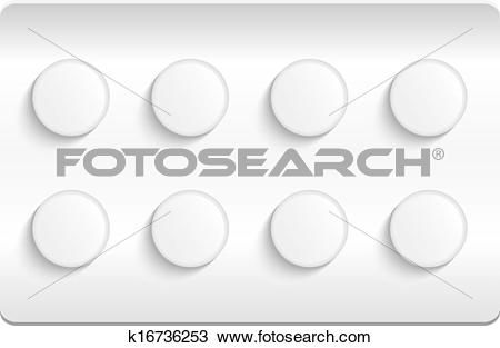 Clipart of Blister pack of pills isolated on white background.