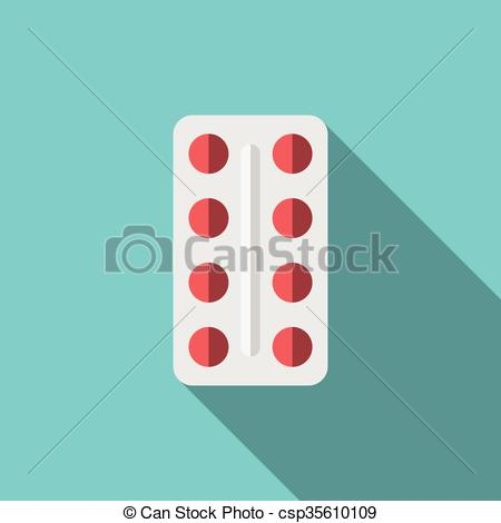 Vector Clipart of Red tablets, blister pack.