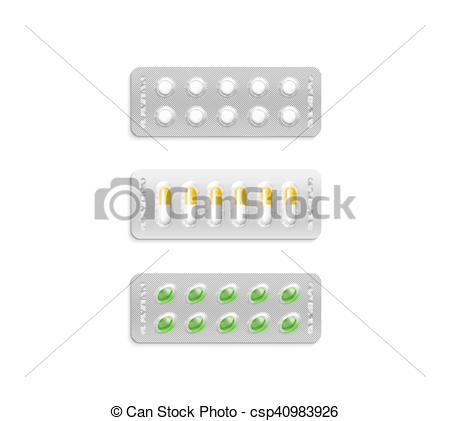 Clip Art of Blister pack with white and coloured pills mockup.