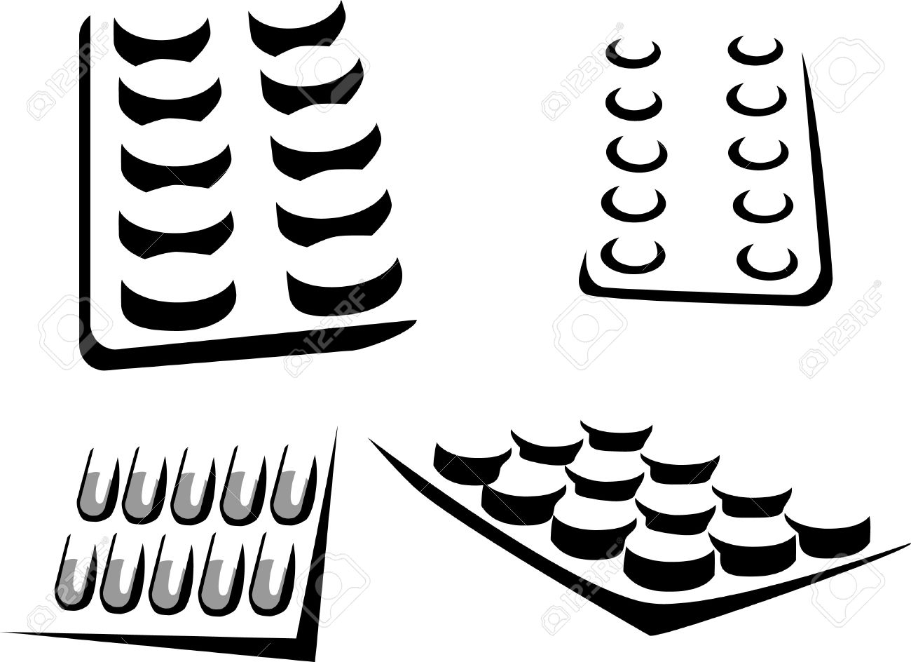 Stylized Pills In The Blister Pack Royalty Free Cliparts, Vectors.