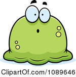 Cartoon Clipart Of A Black And White Pudgy Bored Blob.