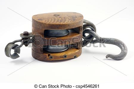 Stock Photography of Old block and tackle.