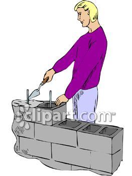 Man Building a Cylinder Block Wall.