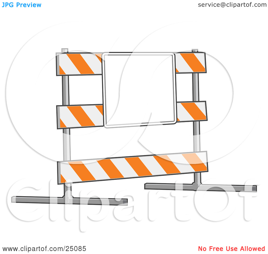 Clipart Illustration of a White And Orange Striped Road Block Type.