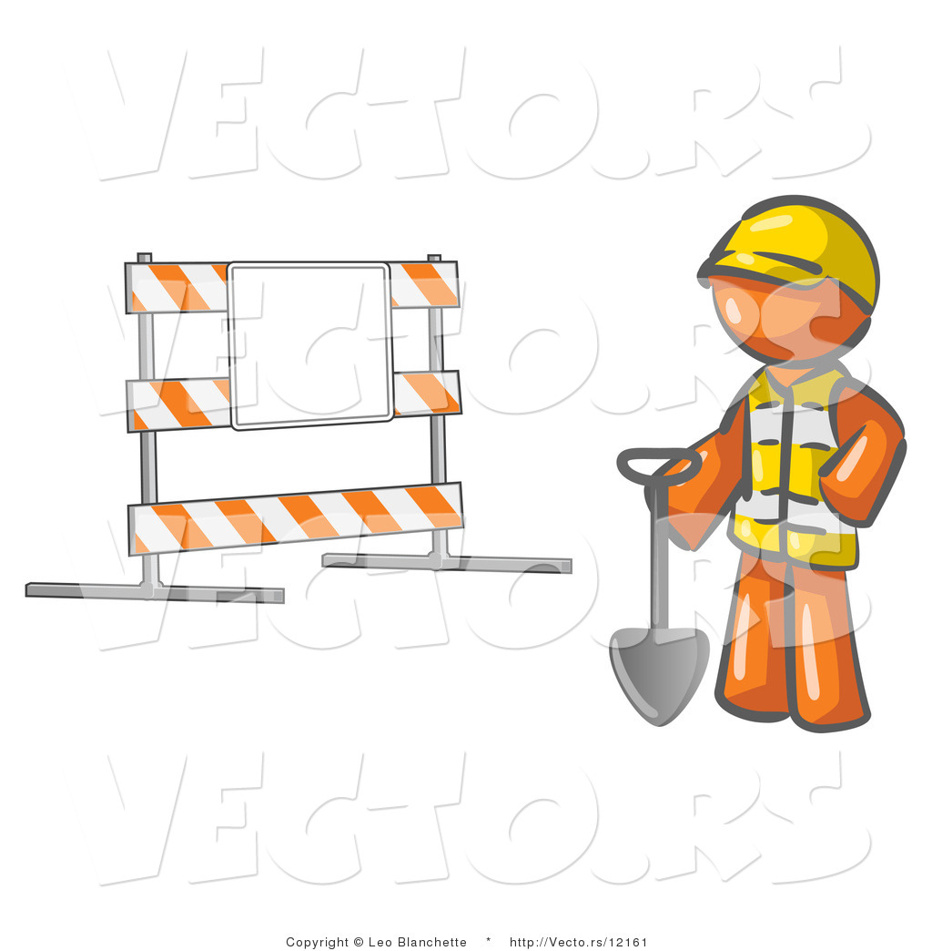 Vector of Orange Guy Construction Worker in a Yellow Vest and.