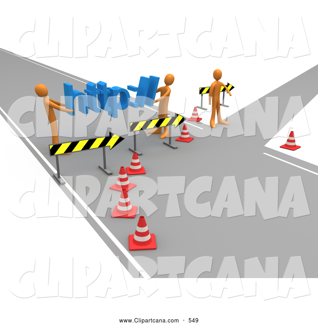 Clip Art of a Construction Zone of Two Orange Men Carrying Http.
