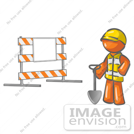 Clip Art Graphic of an Orange Guy Character With A Shovel Near A.