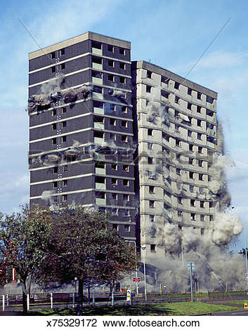 Stock Photo of Demolition of a high rise block of flats x75329172.