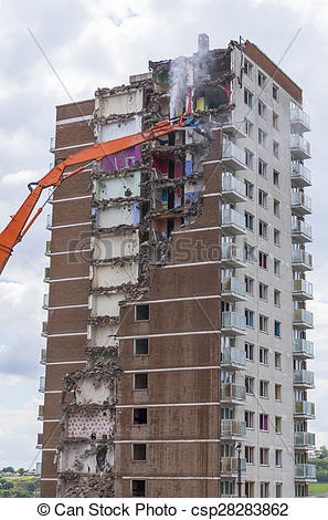 Stock Image of Inner city demolition of High rise.