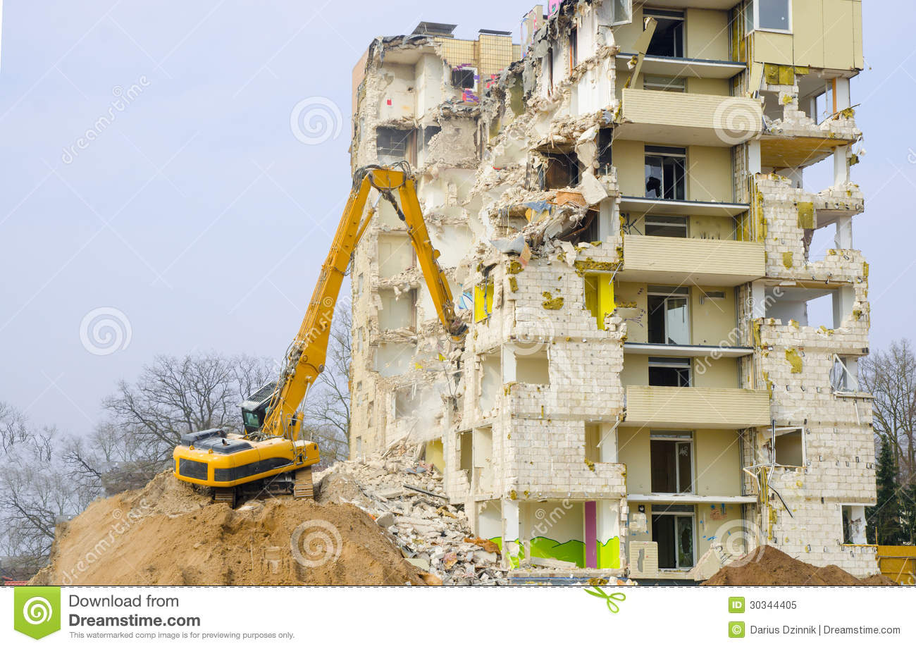Block Of Flats Demolition Royalty Free Stock Photo.