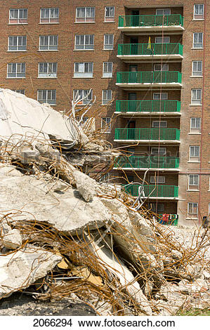 Stock Photo of Building Demolition; Canada, Ontario, Toronto.