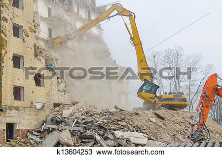 Stock Photo of Block of flats demolition k13604253.