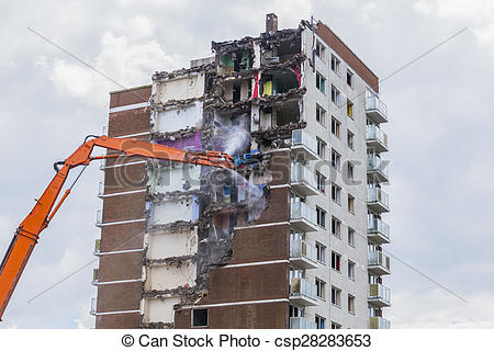 Stock Images of Inner city demolition of High rise.