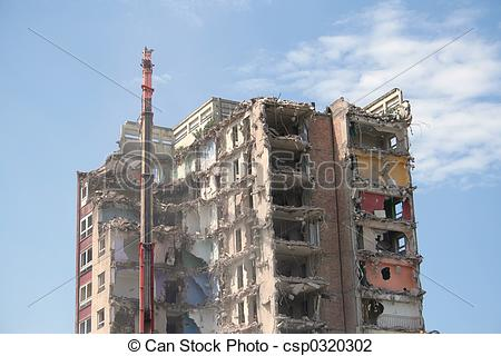 Stock Photo of Demolition of flats.