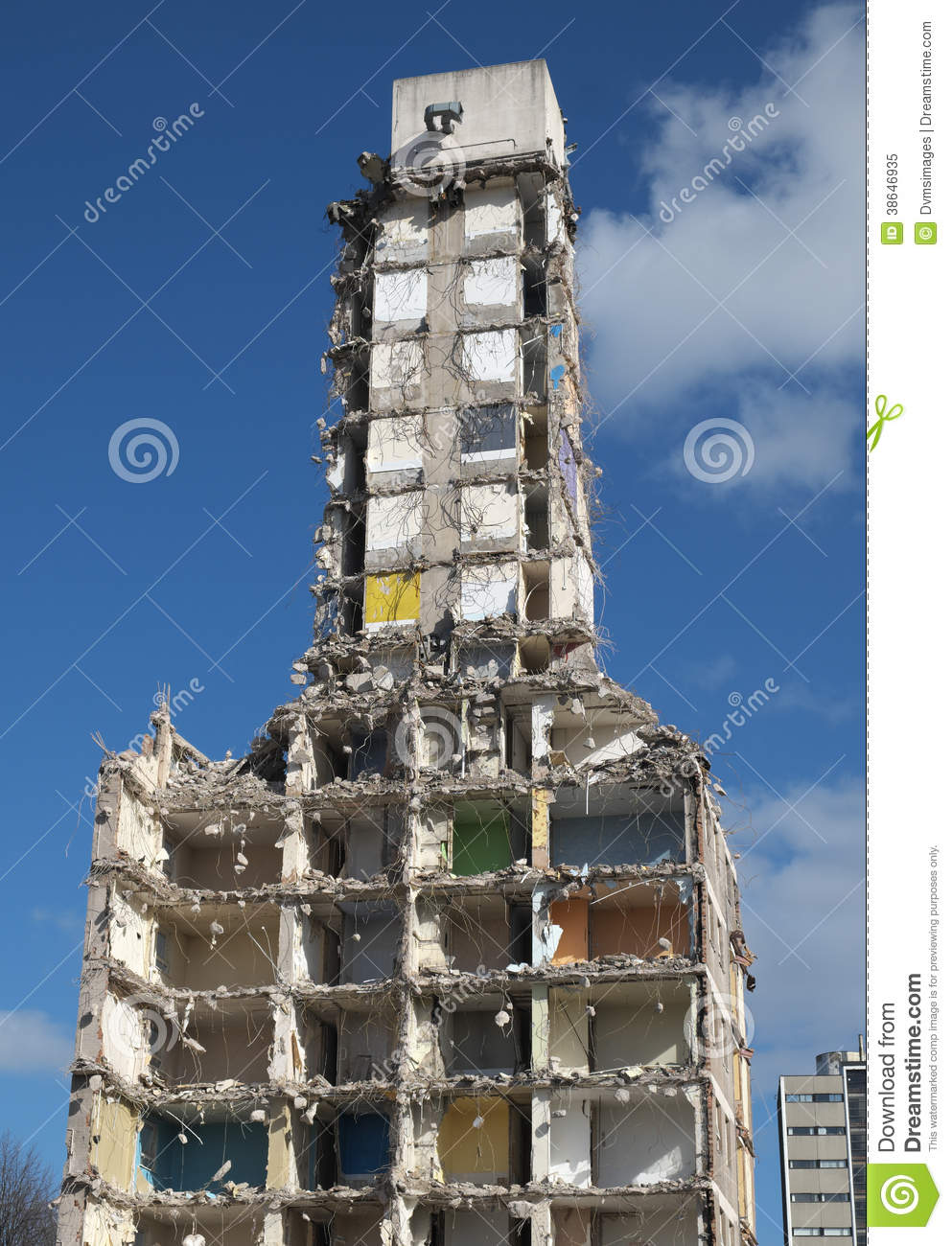 Demolition Of Highrise Flats Royalty Free Stock Photo.