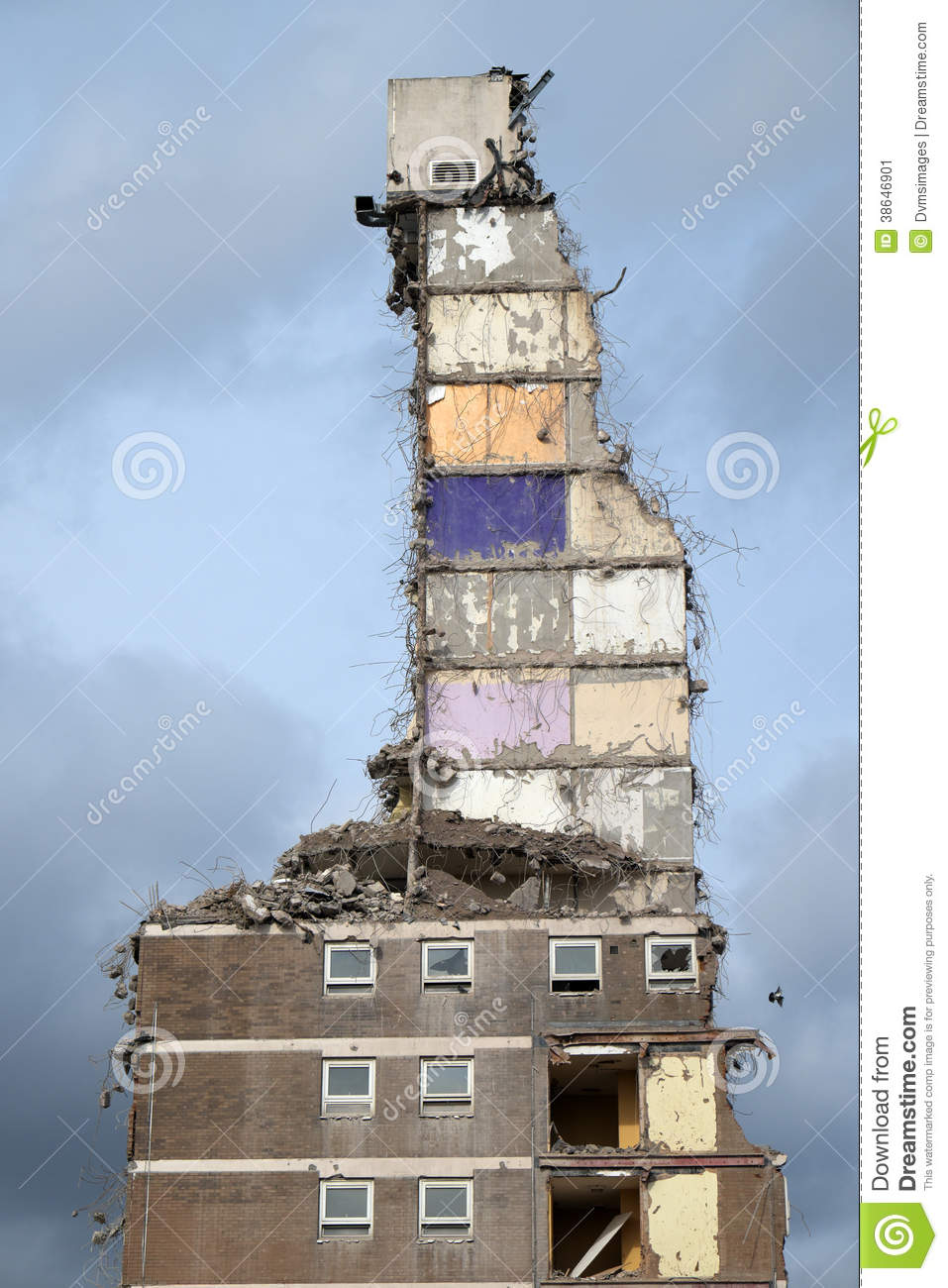 Demolition Of Tower Block Stock Image.