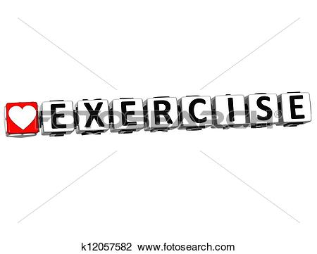 Clip Art of 3D Love Exercise Button Click Here Block Text.