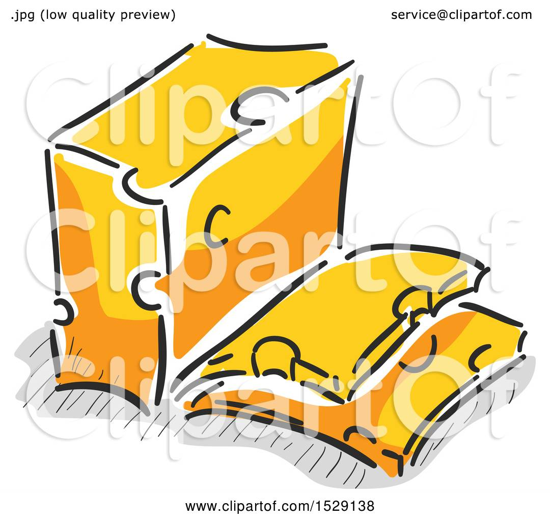 Clipart of a Sketched Block of Cheese and Slices.