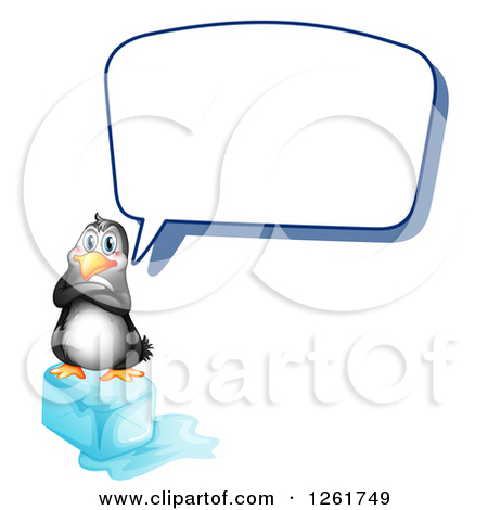 Animal Clipart of a Penguin Talking on a Block of Ice.