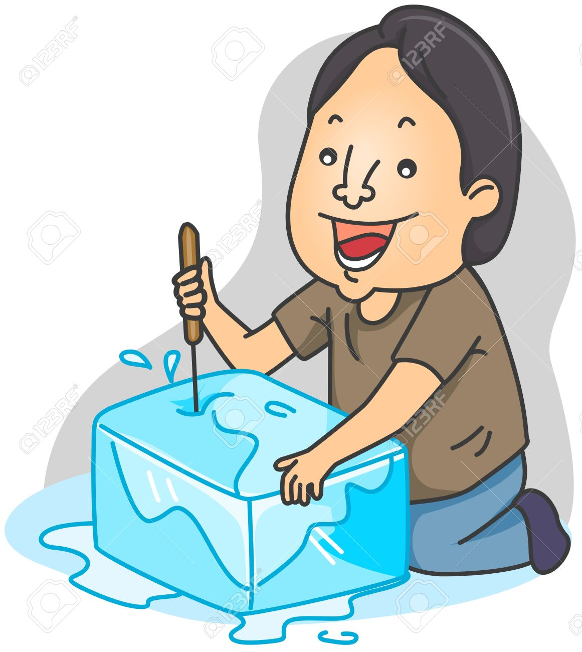 Illustration Of A Man Breaking A Block Of Ice Stock Photo, Picture.