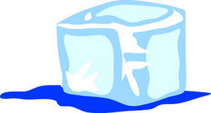 Clipart Illustration of a Melting Ice Cube.