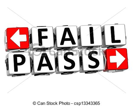 Stock Illustration of 3D Fail Pass Button Click Here Block Text.