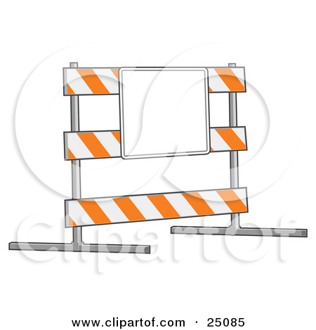 Clipart of a Road Block Construction Barrier.