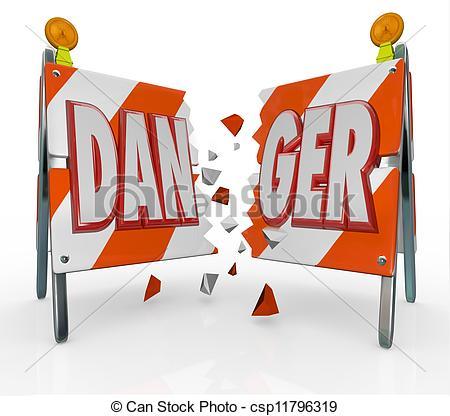 Clipart of Danger Word Barricade Breaking Through Ignoring Warning.