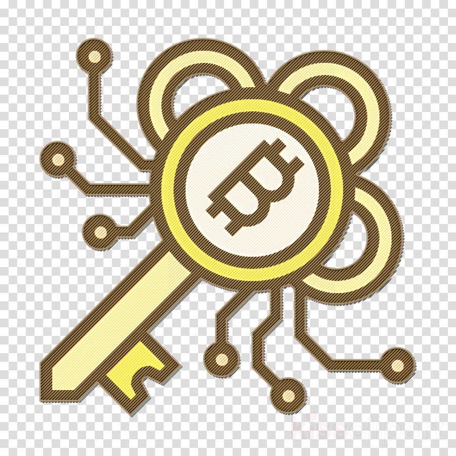 Blockchain icon Bitcoin icon Encrypted icon clipart.