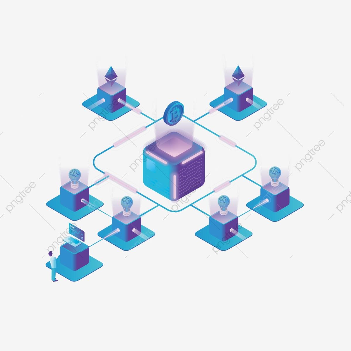 25d Internet Finance Blockchain Bitcoin Illustration Element, 2.5d.
