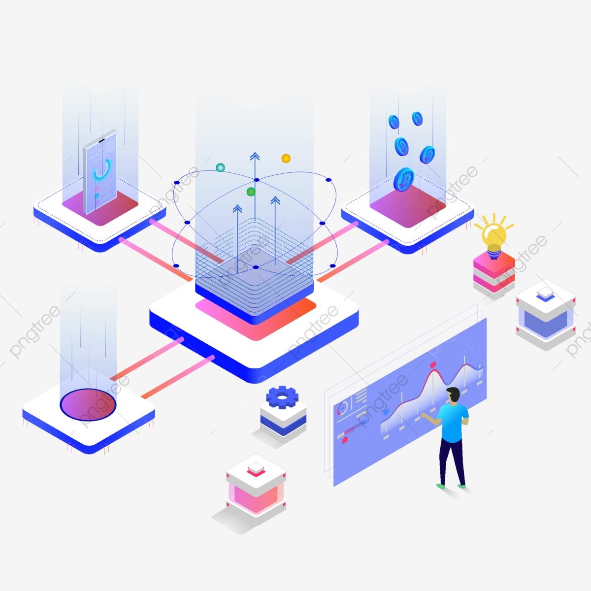 Network Bitcoin Technology Blockchain Big Data Elements, 2.5d, The.
