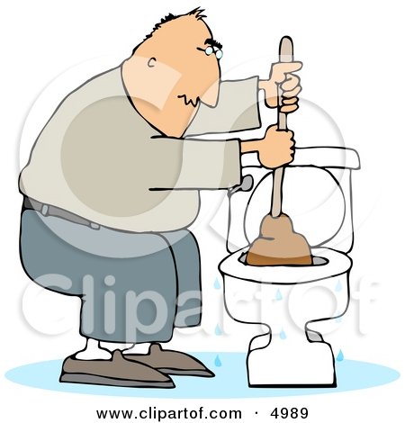 Blocked toilet clipart.