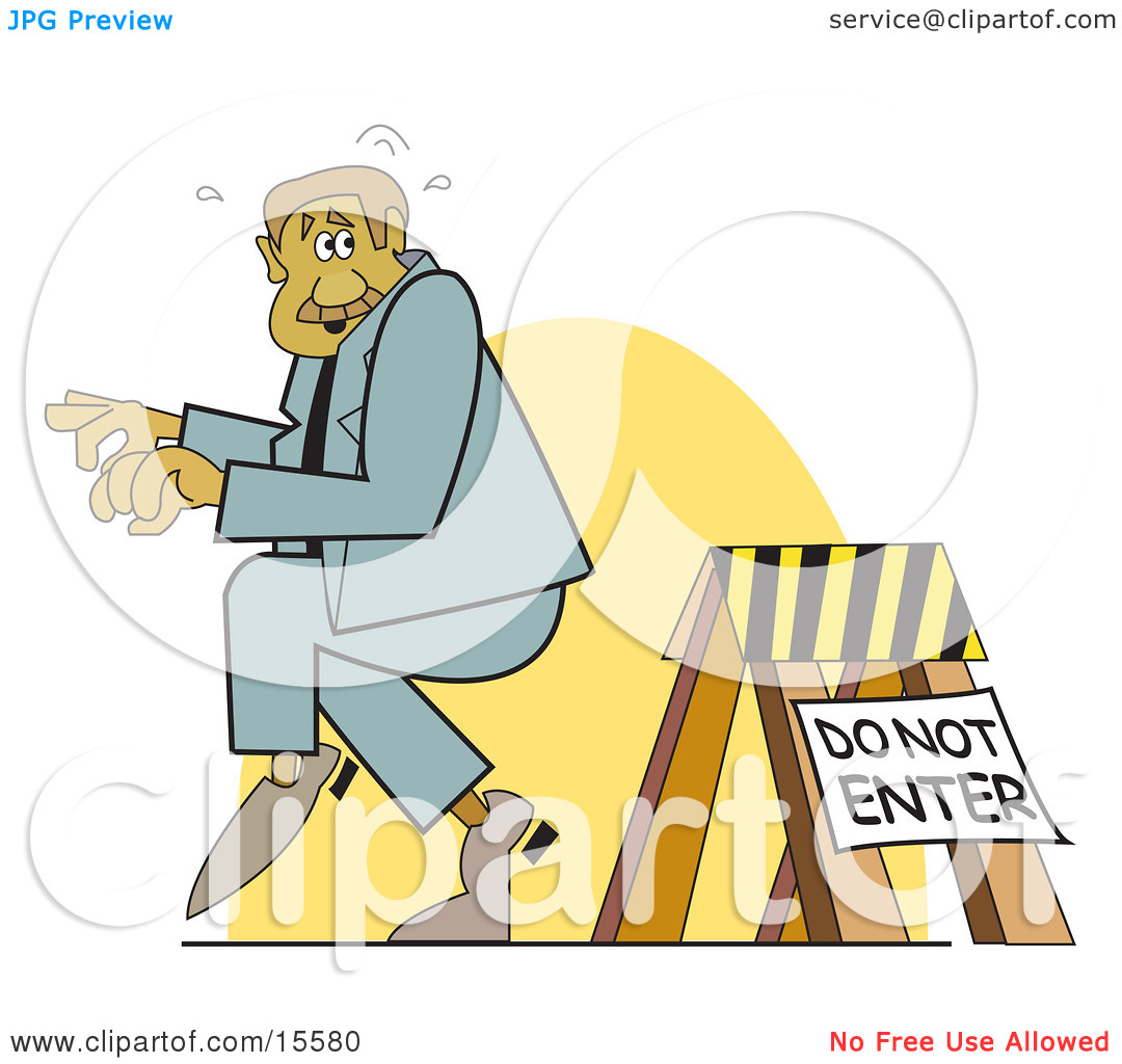 Sneaky Man Entering A Blocked Off Area Clipart Illustration by.