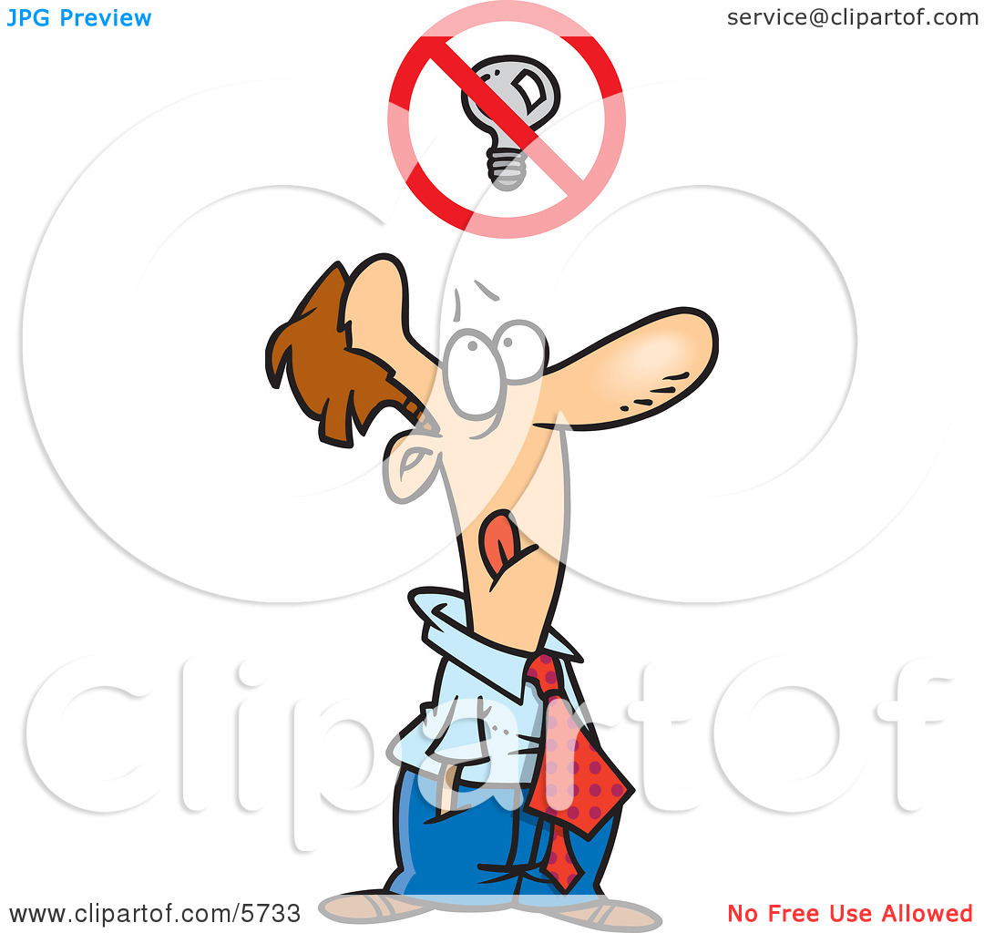 Man With a Blocked Thought Above His Head Clipart Illustration by.