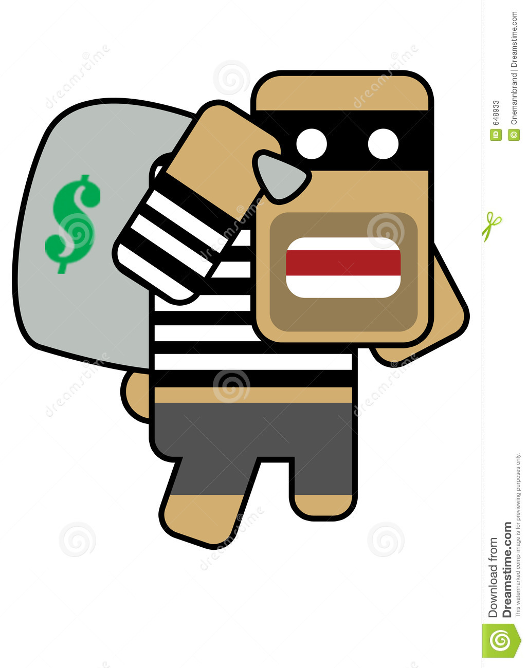 Blockhead Robber Stock Photos.