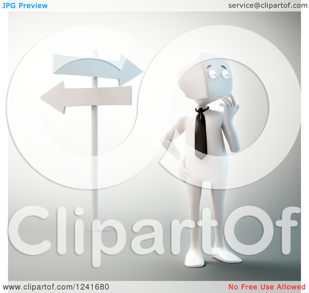 Clipart of a 3d Block Head Businessman Thinking at Crossroads.
