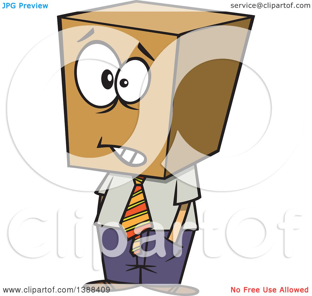 Clipart of a Cartoon Business Man with a Block Head.